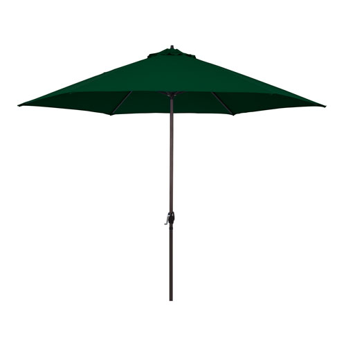 11-Foot Aluminum Market Umbrella with Crank Lift in Hunter Green