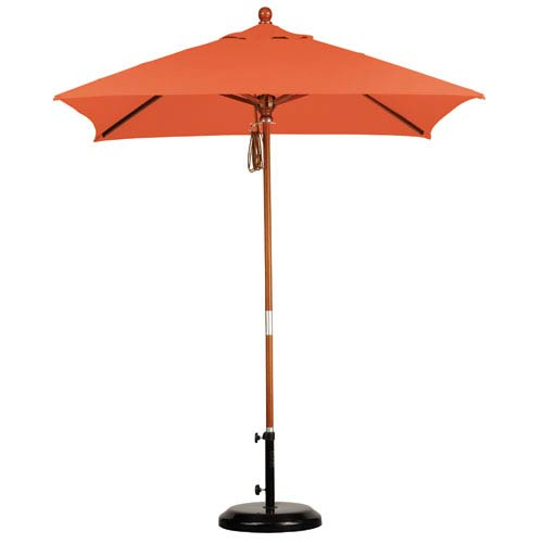 California Umbrella 6 X 6 Foot Umbrella Wood Market Pulley Open Marenti Wood/Sunbrella/Tuscan
