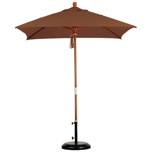 California Umbrella 6 X 6 Foot Umbrella Wood Market Pulley Open Marenti Wood/Sunbrella/Canvas Teak