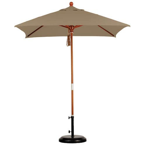 6 X 6 Foot Umbrella Wood Market Pulley Open Marenti Wood/Sunbrella/Sea Linen