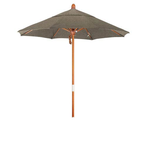 9 Foot Wood Market Umbrella Pulley Open Marenti Wood/Sunbrella/Taupe