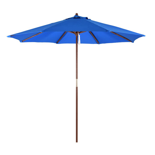 9-Foot Wood Market Umbrella with Pulley Lift in Pacific Blue