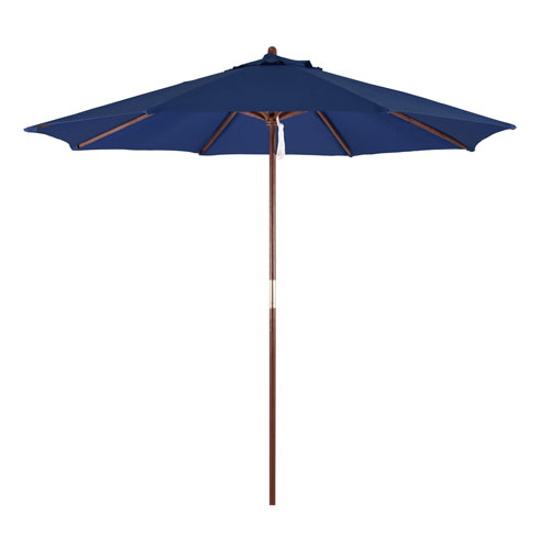 9-Foot Wood Market Umbrella with Pulley Lift in Navy Blue