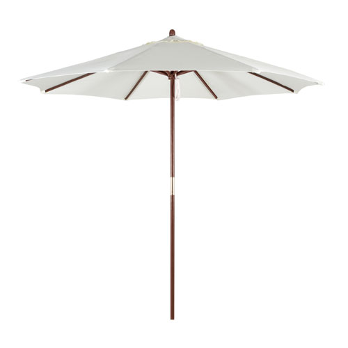 9-Foot Wood Market Umbrella with Pulley Lift in Natural