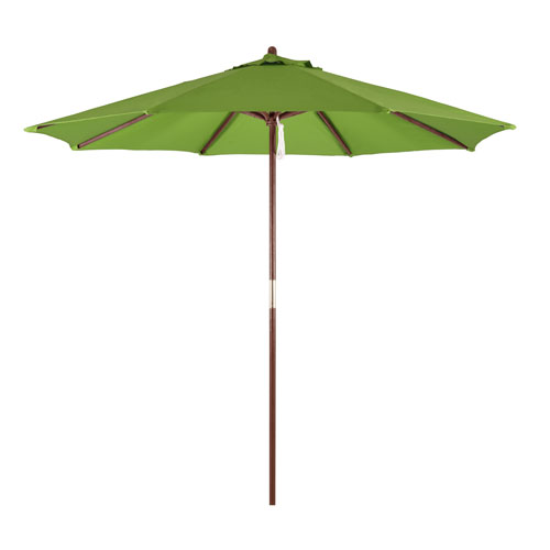 9-Foot Wood Market Umbrella with Pulley Lift in Lime Green