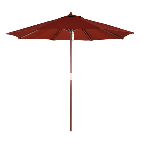 9-Foot Wood Market Umbrella with Pulley Lift in Brick