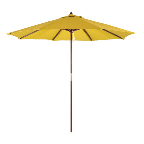 Astella 9-Foot Wood Market Umbrella with Pulley Lift in Yellow