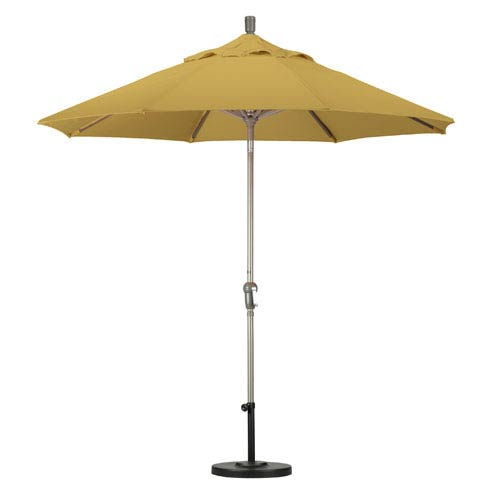 9 Foot Umbrella Aluminum Market Auto Tilt Champagne/Sunbrella/Brass