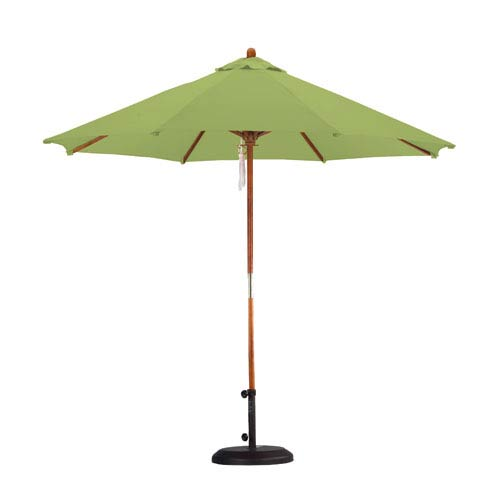 California Umbrella 9 Foot Umbrella Wood Market Pulley Open Hardwood/Polyester/Lime Green