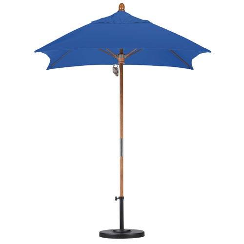 California Umbrella 6 X 6 Foot Umbrella Fiberglass Market Pulley Open Marenti Wood/Sunbrella/Pac Blue
