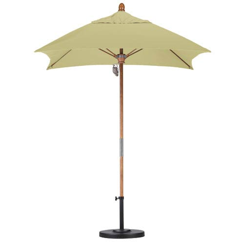 California Umbrella 6 X 6 Foot Umbrella Fiberglass Market Pulley Open Marenti Wood/Sunbrella/Ant.Beige