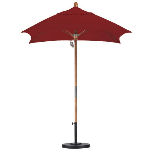 California Umbrella 6 X 6 Foot Umbrella Fiberglass Market Pulley Open Marenti Wood/Sunbrella/Terracotta
