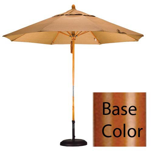 9 Foot Umbrella Fiberglass Market Pulley Open Marenti Wood/Sunbrella/Antique Beige