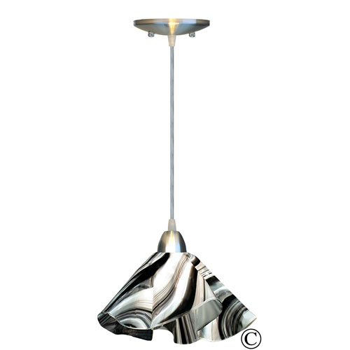 Radiance™ Nickel Lily Pendant with Black and White Glass