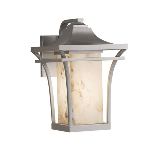 Alabaster Rocks Summit Brushed Nickel One-Light Outdoor Wall Sconce