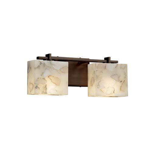 Alabaster Rocks! - Era Polished Chrome Two-Light Bath Bar with Rectangle Alabaster Rocks Shade