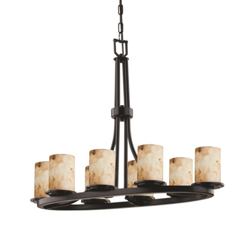 Alabaster Rocks Matte Black Eight-Light LED Chandelier