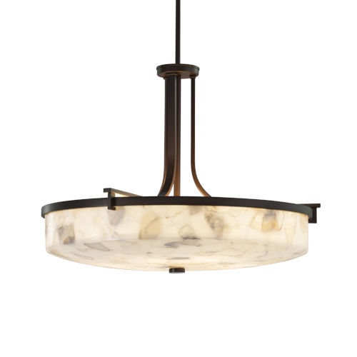 Alabaster Rocks Era Dark Bronze Six-Light LED Round Bowl Pendant