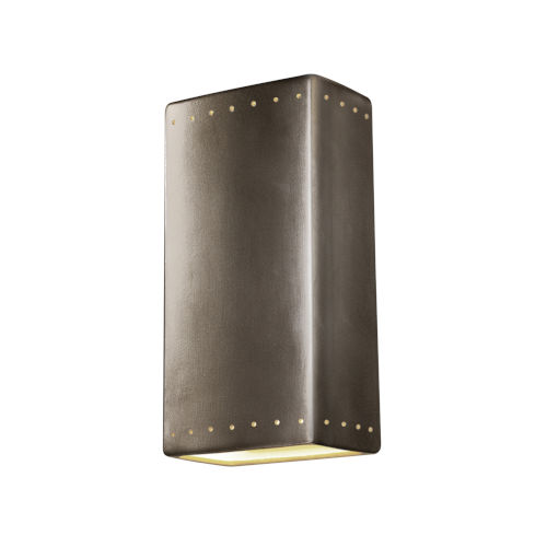 Ambiance Antique Silver 11-Inch Rectangle Closed Top GU24 LED Rectangle Outdoor Wall Sconce
