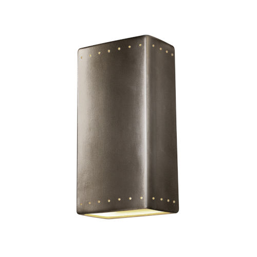 Ambiance Antique Silver 11-Inch Two-Light Closed Top and Bottom GU24 LED Rectangle Outdoor Wall Sconce