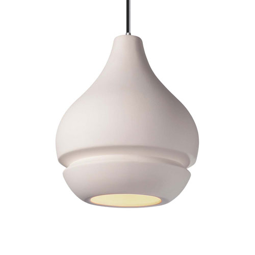 Radiance Bisque Ceramic and Polished Chrome Eight-Inch One-Light Arabesque Mini Pendant