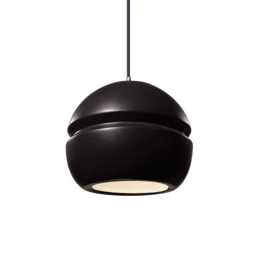 Radiance Carbon Matte Black Ceramic and Polished Chrome Eight-Inch One-Light Sphere Mini Pendant