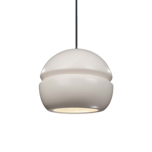 Radiance Matte White Ceramic and Brushed Nickel Eight-Inch One-Light Sphere Mini Pendant