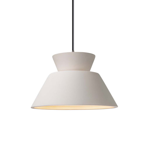 Radiance Bisque Ceramic and Brushed Nickel 11-Inch One-Light Pendant