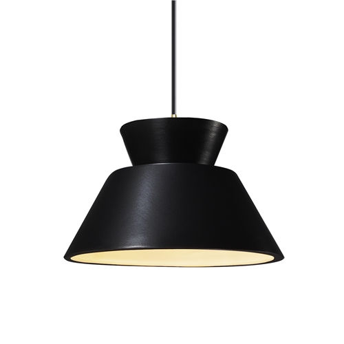 Radiance Gloss Black and Antique Brass LED Pendant