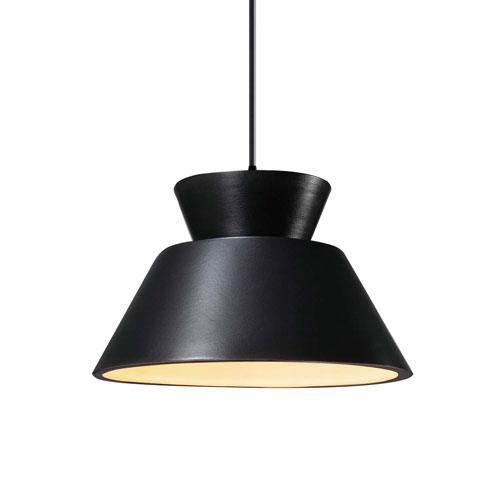 Radiance Carbon Matte Black Ceramic and Matte Black 11-Inch One-Light Pendant