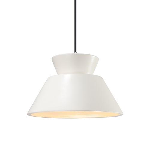 Radiance Trapezoid Gloss White and Polished Chrome One-Light Pendant