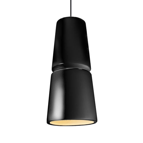 Radiance Gloss Black and Antique Brass Two-Light LED Mini Pendant