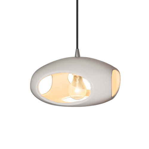 Radiance Bisque Ceramic and Brushed Nickel 12-Inch One-Light Punch Pendant