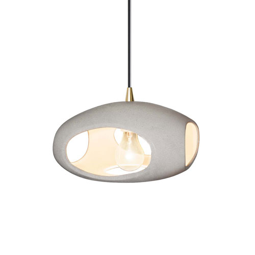 Radiance Concrete Ceramic and Antique Brass 12-Inch One-Light Punch Pendant