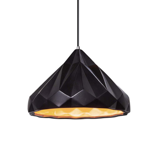 Radiance Carbon Matte Black Ceramic and Polished Chrome 12-Inch One-Light Pendant