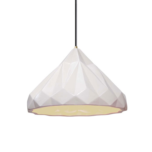 Radiance Matte White Ceramic and Antique Brass 12-Inch One-Light Geometric Pendant
