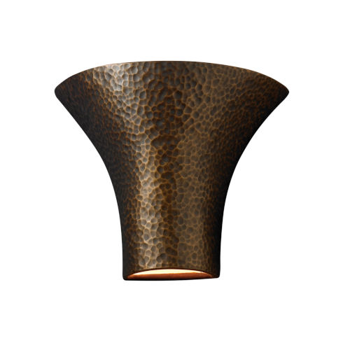 Ambiance Hammered Brass 12-Inch Round Flared Wall Sconce