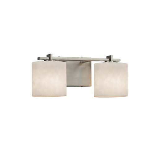 Clouds - Era Brushed Nickel Two-Light LED Bath Bar with Oval Clouds Shade