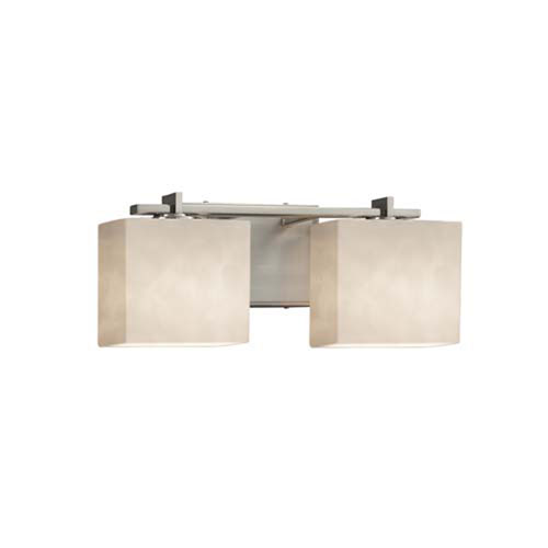 Clouds - Era Brushed Nickel Two-Light LED Bath Bar with Rectangle Clouds Shade