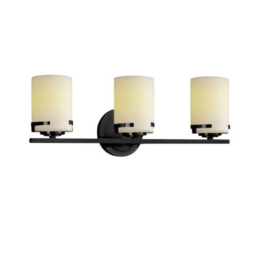 CandleAria Matte Black and Cream Three-Light LED Bath Vanity