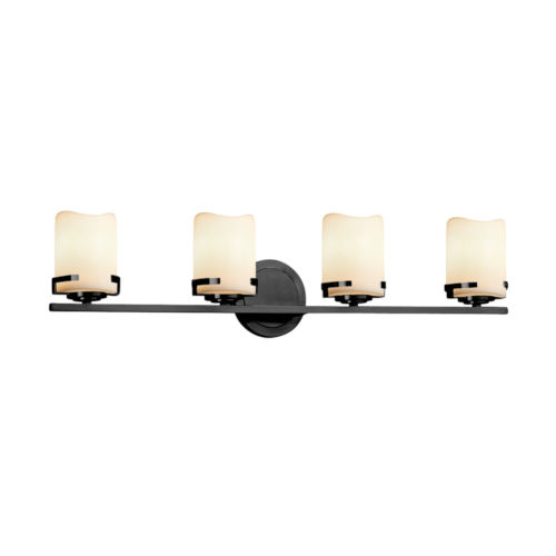 CandleAria Atlas Matte Black and Cream Four-Light LED Bath Vanity