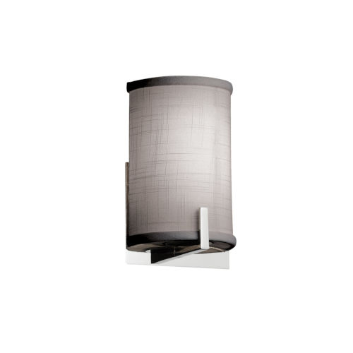 Textile Century Polished Chrome and Gray One-Light Wall Sconce