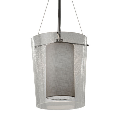 Textile Amani Polished Chrome and Gray One-Light Pendant