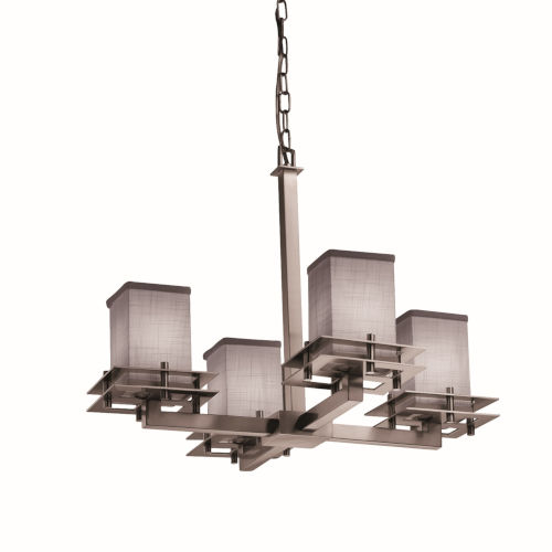 Textile Metropolis Brushed Nickel and Gray Four-Light Chandelier