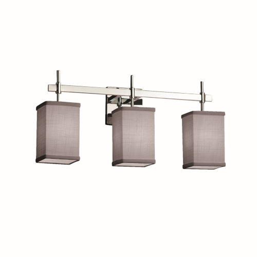 Textile Union Polished Chrome and Gray Three-Light Bath Vanity