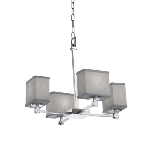 Textile Polished Chrome and Gray Four-Light LED Chandelier