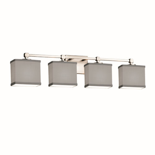 Textile Tetra Brushed Nickel and Gray Four-Light Bath Vanity