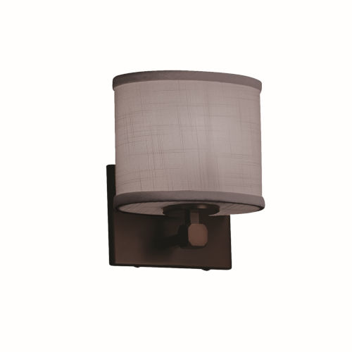 Textile Tetra Dark Bronze and Gray LED Wall Sconce with Oval Shade