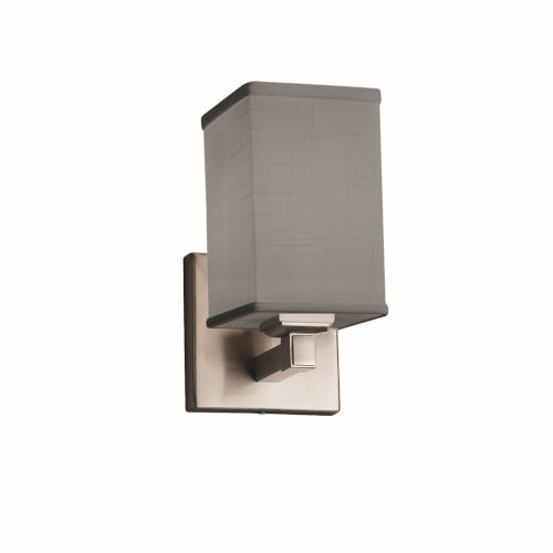Textile Regency Brushed Nickel and Gray Square LED Wall Sconce