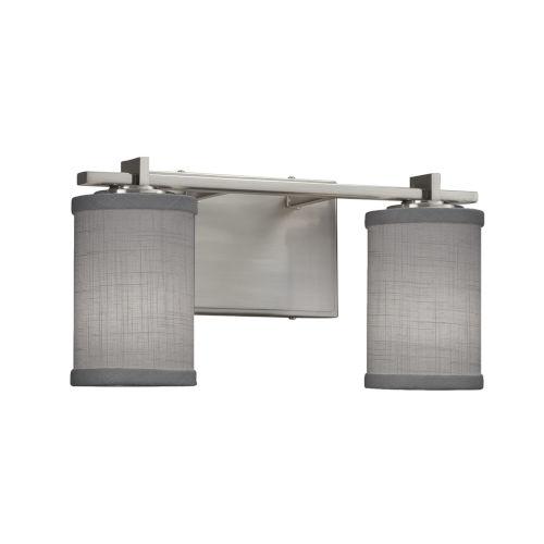 Textile Era Brushed Nickel and Gray Two-Light LED Cylinder Bath Vanity